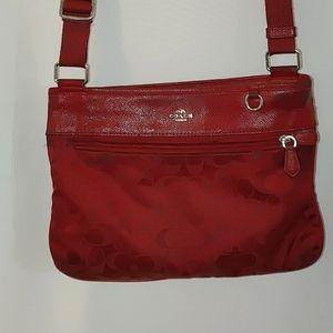 Coach Jacquard Swingpack Crossbody Red Bag